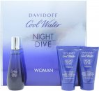 Davidoff Cool Water Night Dive Woman Gift Set 50ml EDT + 50ml Body Lotion + 50ml Shower Gel
