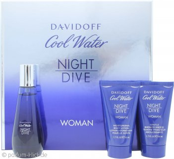 Davidoff Cool Water Woman Night Dive Geschenkset 50ml EDT + 50ml Body Lotion + 50ml Duschgel