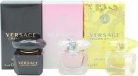 Versace Mini Set For Her Gift Set 5ml EDT Crystal Noir + 5ml EDT Bright Crystal + 5ml EDT Yellow Diamond + 5ml EDP Bright Crystal Absolu