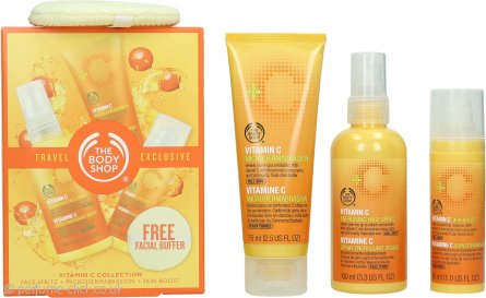 The Body Shop Vitamin C Travel Exclusive Gift Set 100ml Energizing Face Spritz + 75ml Microdermabrasion + 30ml Skin Boost + Facial Buffer