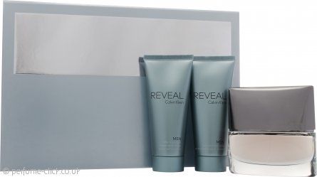 Calvin Klein Reveal Men Gift Set 100ml EDT Spray + 100ml Aftershave Balm + 100ml Hair & Body Wash