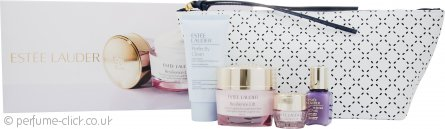 Estee Lauder Gift Set 5ml Resilience Lift Eye Cream + 15ml Perfectionist [CP+R] Serum + 50ml Perfectly Clean Cleanser/Mask + 15ml Resilience Lift Face and Neck Creme + Bag