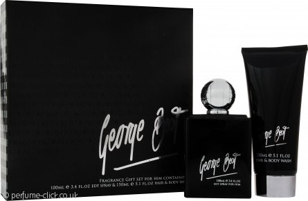 George Best Silver Edition Gift Set 100ml EDT Spray + 100ml Hair & Body Wash