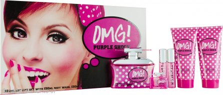 Jigsaw OMG! Purple Shock Gift Set 100ml EDT + 150ml Body Lotion + 150ml Body Wash + 2 x 15ml Purse Spray + 7.5ml EDT Mini