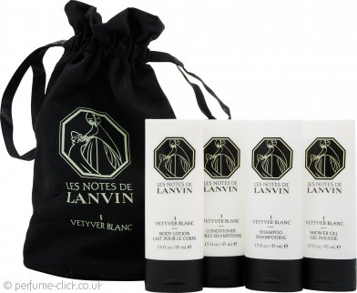 Lanvin Les Notes de Lanvin I Vetyver Blanc Gift Set 45ml Body Lotion + 45ml Conditioner + 45ml Shampoo + 45ml Shower Gel + Pouch