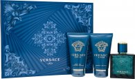 Versace Eros Gift Set 50ml EDT + 50ml Aftershave Balm + 50ml Duschgel