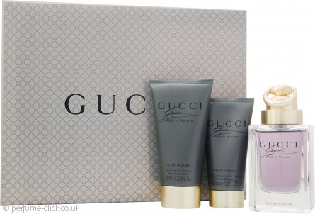 Gucci Made to Measure Gift Set 90ml EDT Spray + 75ml Aftershave Balm + 50ml Shower Gel