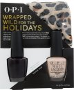 OPI Wrapped Wild For The Holidays Gift Set 15ml Nail Lacquer Lincoln Park After Dark + 15ml Nail Lacquer Samoan Sand + Cheetah Print Scarf