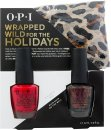 OPI Wrapped Wild For The Holidays Gift Set 15ml Nail Lacquer Big Apple Red + 15ml Nail Lacquer Muir Muir on the Wall + Cheetah Print Scarf