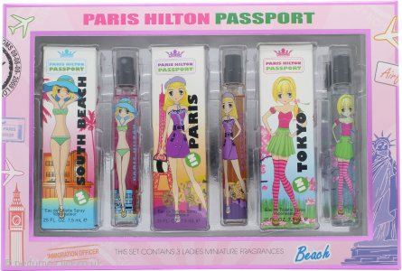 Paris Hilton Passport Gift Set 3 x 7.5ml EDT (Tokyo - Paris - South Beach)