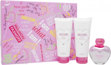Moschino Pink Bouquet Gift Set 50ml EDT + 100ml Body Lotion + 100ml Shower Gel