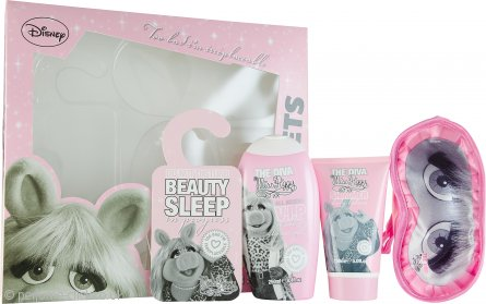 The Muppets Superstar Gift Set  250ml Miss Piggy Shower Gel + 150ml Miss Piggy Shimmer Body Lotion + Sleep Mask + Door Sign