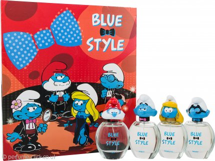 The Smurfs Blue Style Gift Set 4 x 50ml EDT Spray - Papa + Clumsy + Smurfette + Brainy