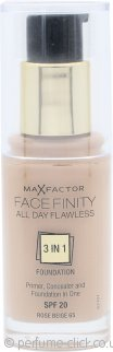 Max Factor Facefinity All Day Flawless 3 in 1 Foundation SPF20 30ml - 65 Rose Beige