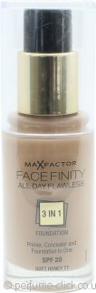 Max Factor Facefinity All Day Flawless 3 in 1 Foundation SPF20 30ml - 77 Soft Honey
