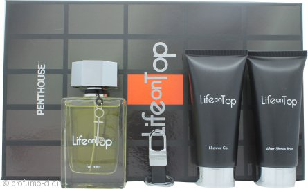 Penthouse Life On Top Confezione Regalo 125ml EDT Spray + 150ml Balsamo Dopobarba + 150ml Gel Doccia + Portachiavi