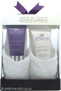 Style & Grace Rest and Relaxation Gift Set 150ml Body Lotion + 150ml Body Wash + Slippers