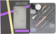Active Glamour Night Look Cosmetic Palette - Eye Shadow + Black Eye Liner + Lip Gloss + Black Mascara + Mirror