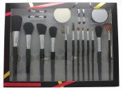 Active Cosmetics Professional Cosmetics Brush Set 4 Applicadores + Esponja + Espejo + 12 Brochas