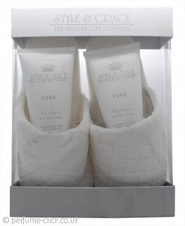 Style & Grace Puro Pure Bliss Slipper Gift Set 150ml Body Wash + 150ml Body Lotion + Slippers