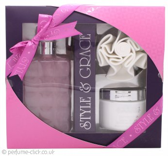 Style & Grace Luxury Retreat Gift Set - 500ml Luxury Bath Cream + 170ml Body Butter + Shower Flower (2015)