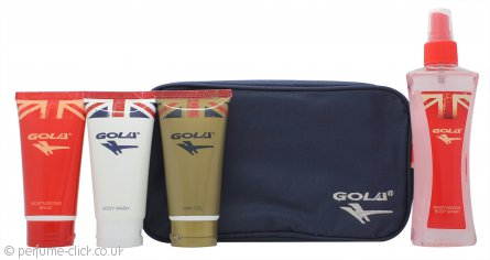 Gola Gift Set 75ml Body Wash + 75ml Hair Gel + 75ml Moisturising Balm + 150ml Moisturising Body Spray + Wash Bag