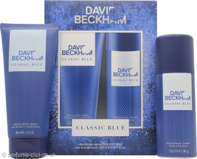 David Beckham Classic Blue Gift Set 150ml Body Spray + 200ml Shower Gel