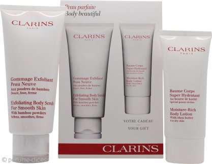 Clarins Body Beautiful Set de Regalo 200ml Exfoliante + 100ml Loción Corporal Hidratación Rica