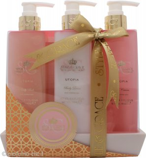 Style & Grace Utopia Bathroom Collection Confezione Regalo 250ml Bagnoschiuma + 250ml Lozione Corpo + 250ml Scrub Corpo