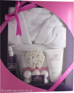 Style & Grace Deluxe Robe Gift Set 250ml Body Wash + 100g Bath Fizzlers + 200ml Body Lotion + Bath Robe (One Size) + Shower Flower (2015)