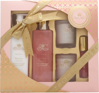 Style & Grace Utopia Luxurious Bathing Experience Gift Set 250ml Bath Creme + 200ml Body Lotion + 15ml EDP + 2 x 65g Candle