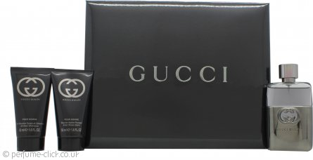 Gucci Guilty Pour Homme Gift Set 50ml EDT + 50ml Aftershave Balm + 50ml All Over Shampoo