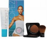 St Tropez Tan Voyage Radiant Holiday Glow Gift Set 50ml Self Tan Bronzing Lotion Face + 12g Powder Bronzer + Powder Bronzing Brush