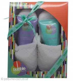Style & Grace Bubble Boutique Slipper Gift Set 150ml Body Wash + 150ml Body Lotion + Slippers (One Size)