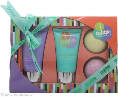Style & Grace Bubble Boutique Bath & Body Essentials Gift Set 70ml Body Wash + 70ml Body Lotion + 2 x 90g Large Bath Bomb (Orange & Green)