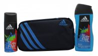Adidas Team Five Gift Set 150ml Deodorant Body Spray + 250ml Shower Gel + Toiletry Bag