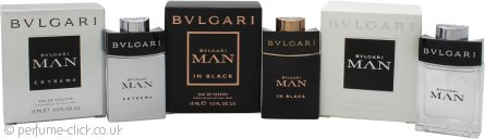 Bvlgari Man Pocket Spray Collection Gift Set 15ml EDT Man + 15ml EDT Man Extreme + 15ml EDP Man in Black
