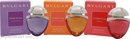 Bvlgari Miniatures Gift Set The Jewel Charms Collection 15ml Omnia Indian Garnet EDT + 15ml Omnia Coral EDT + 15ml Omnia Amethyste EDT