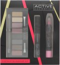 Active Cosmetics Instant Glamour Kit Presentset 6.5ml Mascara + 8 x 1.5g Eyeshadow + 3.3g Lip Crayon + Double Ended Applicator