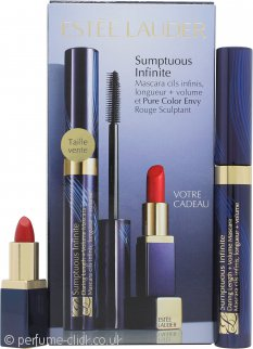Estee Lauder Sumptuous Infinite Gift Set Infinite Mascara 01 Black + Mini Lipstick 04 Envious