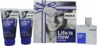 Mexx Life Is Now for Him Gift Set 1.7oz (50ml) EDT + 2 x 1.7oz (50ml) Shower Gel
