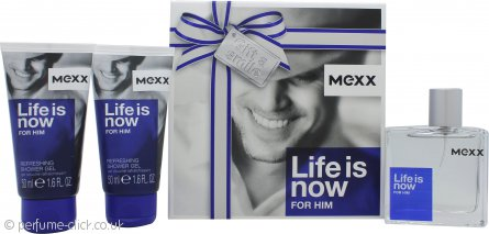 Mexx Life Is Now for Him Gift Set 50ml EDT + 2 x 50ml Shower Gel