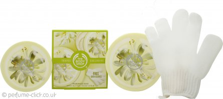 The Body Shop Moringa Duo Travel Exclusive Gift Set 200ml Body Butter + 200ml Body Scrub + Bath Gloves