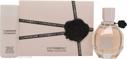 Viktor & Rolf FlowerBomb Gift Set 50ml EDP Spray + 50ml Body Lotion