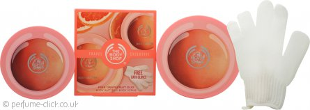 The Body Shop Pink Grapefruit Gift Set 100ml Body Lotion + 100ml Body Scrub + Gloves