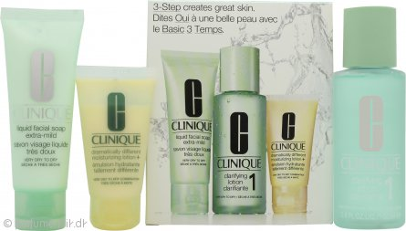 Clinique 3-Step Skincare Dry Skin Gavesæt 50ml Liquid Soap + 100ml Clarrifying Lotion + 30ml Moisturizing Lotion