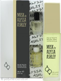 Alyssa Ashley Musk Gift Set 100ml EDT + 5ml Musk Perfume Oil + 5ml White Musk Perfume Oil