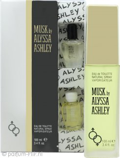 Alyssa Ashley Musk Geschenkset 100ml EDT + 5ml Muskus Parfum Olie + 5ml Witte Muskus Parfum Olie