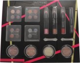 Active Cosmetics Colour Masterclass Set 4 x 10.24g Quad Lidschatten + 2 x 3.58g Rouge + 1.79g Bronzer + 1.79g Highlighter + 3 x 7.8g Lippen Crayon + 6.8ml Black Mascara + 2 x Zweiseitige Applikatoren