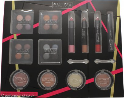 Active Cosmetics Colour Masterclass Set 4 x 10.24g Quad Eyeshadow + 2 x 3.58g Blusher + 1.79g Bronzer + 1.79g Highlighter + 3 x 7.8g Lip Crayon + 6.8ml Black Mascara + 2 x Double End Applicators